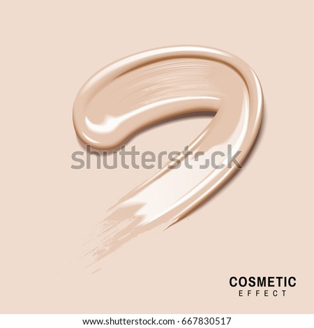 smeared cream colored foundation for effect use, isolated cream color background