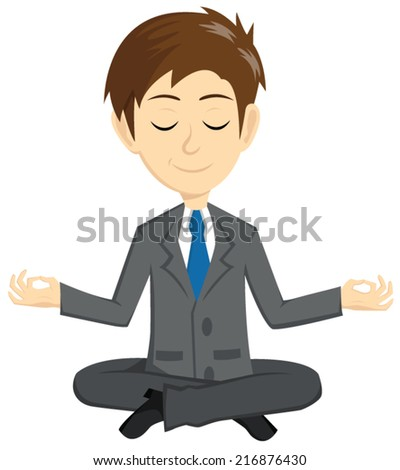 Smile Businessman Meditation To Get A Peace - stock vector