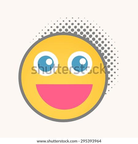 Smile - Cartoon Smiley Vector Face - stock vector