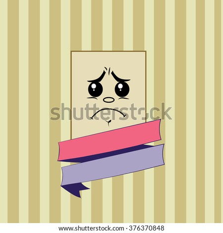 Smile cry vector. Rectangular smile on striped background.concept illustration with colored ribbon.vintage retro style. - stock vector