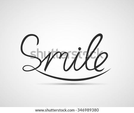 Smile design, font design, vector illustration, graphic, background - stock vector