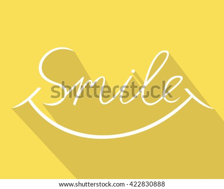 Smile design, font design, vector illustration, graphic, calligraphic - stock vector
