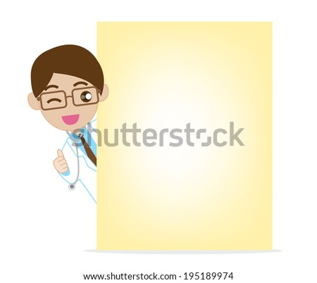 Smile doctor with blank note paper - stock vector