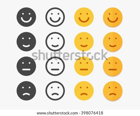 Smile emotions icons vector, simple flat round faces signs in different styles. Flat smiles set. Simple emotions smiles set. Black silhouette smile, contour line smile and flat color smile styles set