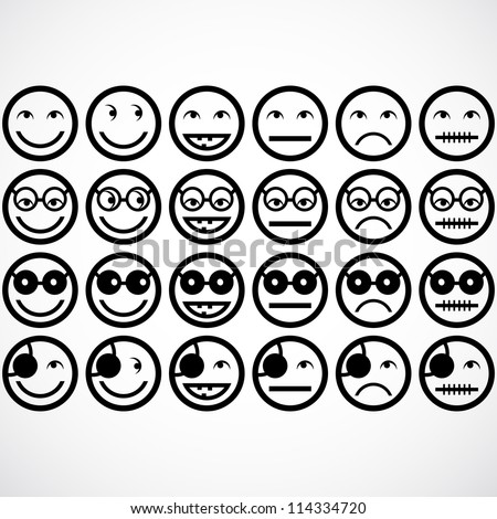 smile face icons. vector illustration.