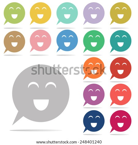 Smile face in speech Bubbles Icon: colorful vector on white background - stock vector