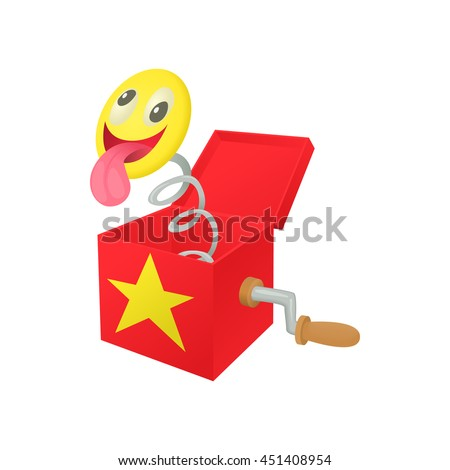 Smile face jumping out from a box icon in cartoon style on a white background - stock vector