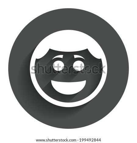 Smile face sign icon. Happy smiley with hairstyle chat symbol. Circle flat button with shadow. Modern UI website navigation. Vector - stock vector