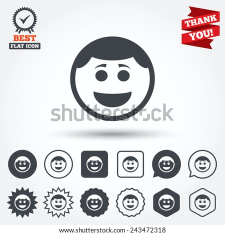 Smile face sign icon. Happy smiley with hairstyle chat symbol. Circle, star, speech bubble and square buttons. Award medal with check mark. Thank you ribbon. Vector - stock vector