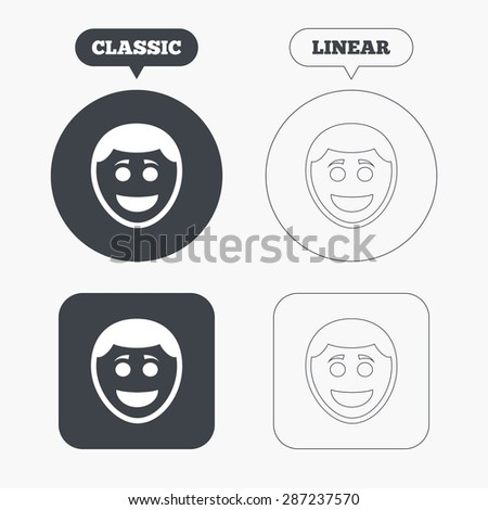 Smile face sign icon. Happy smiley with hairstyle chat symbol. Classic and line web buttons. Circles and squares. Vector - stock vector