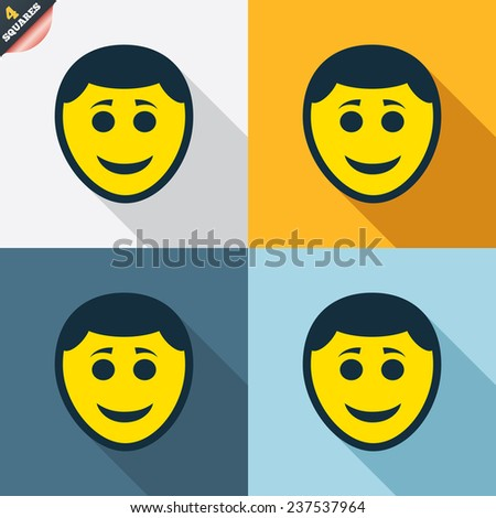 Smile face sign icon. Happy smiley with hairstyle chat symbol. Four squares. Colored Flat design buttons. Vector - stock vector