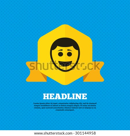 Smile face sign icon. Happy smiley with hairstyle chat symbol. Yellow label tag. Circles seamless pattern on back. Vector - stock vector