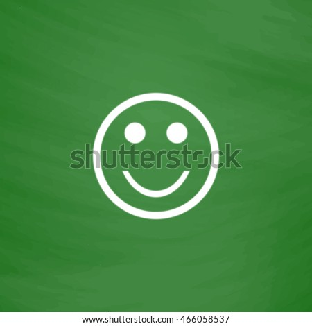 Smile. Flat Icon. Imitation draw with white chalk on green chalkboard. Flat Pictogram and School board background. Vector illustration symbol