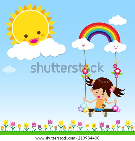 Smile girl playing the swing under a sun and rainbow with white cloud, blue sky, vector EPS10 - stock vector