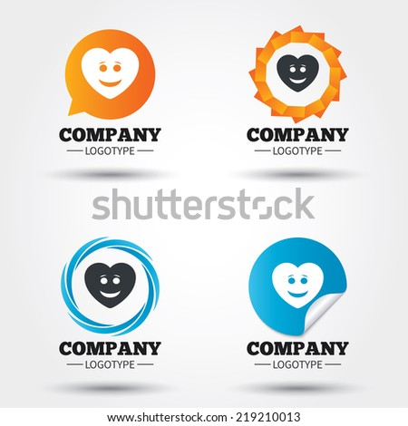 Smile heart face sign icon. Happy smiley with hairstyle chat symbol. Business abstract circle logos. Icon in speech bubble, wreath. Vector