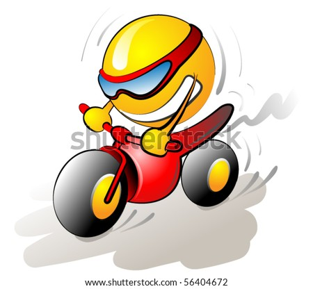 smile icon riding a bike - stock vector