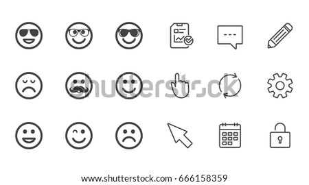 Smile Icons Happy Sad Wink Faces Stock Vector Royalty Free