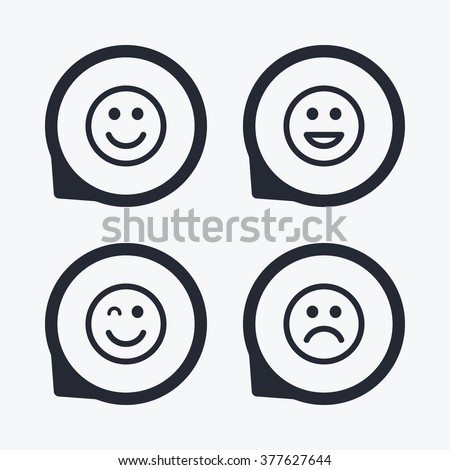 Smile icons. Happy, sad and wink faces symbol. Laughing lol smiley signs. Flat icon pointers. - stock vector