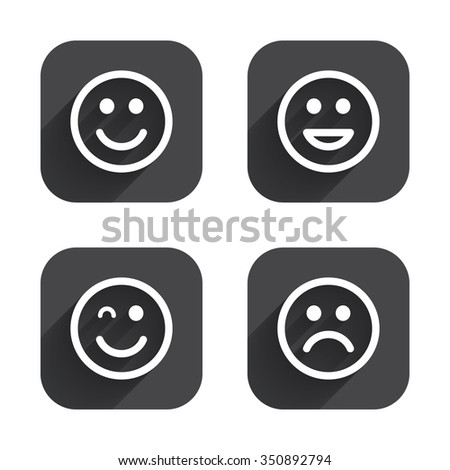 Smile icons. Happy, sad and wink faces symbol. Laughing lol smiley signs. Square flat buttons with long shadow. - stock vector