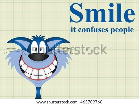 Smile it confuses people message on graph paper background with copy space for own text