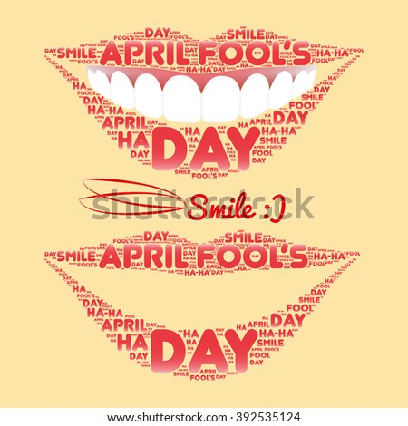 Smile made of a set of words pink color laid out along the contour of the lips. Two kinds. - stock vector