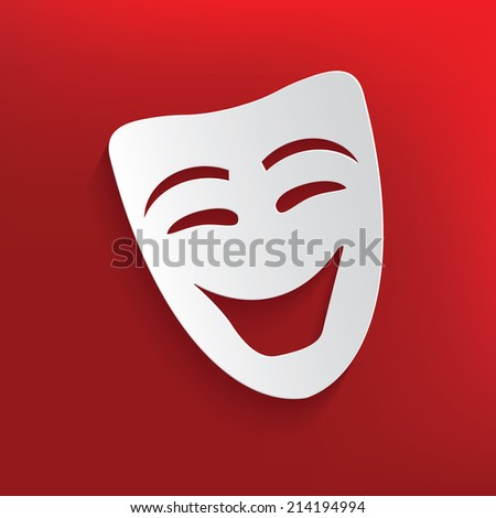 Smile mask design on red background,clean vector - stock vector