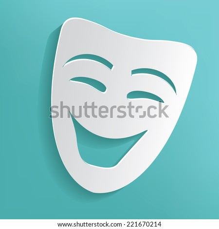 Smile mask on blue background,clean vector - stock vector