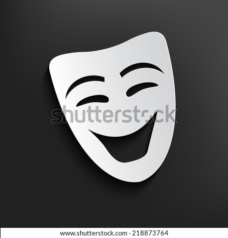 Smile mask symbol on dark background,clean vector - stock vector