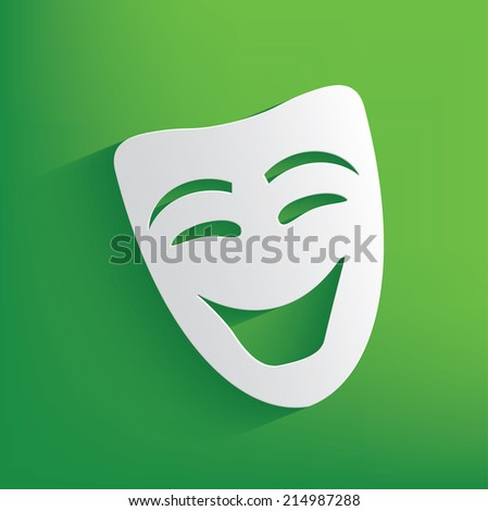 Smile mask symbol on green background,clean vector - stock vector