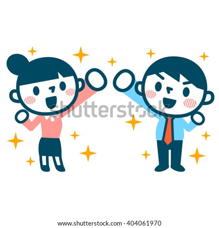 Smile of businessman and career woman - stock vector