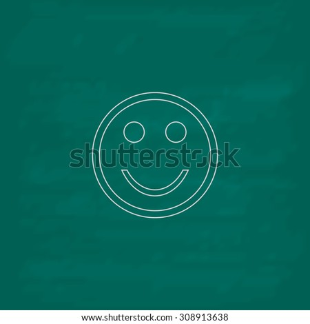 Smile. Outline vector icon. Imitation draw with white chalk on green chalkboard. Flat Pictogram and School board background. Illustration symbol