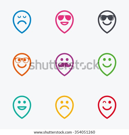 Smile pointers icons. Happy, sad and wink faces signs. Sunglasses, mustache and laughing lol smiley symbols. Flat colored graphic icons. - stock vector