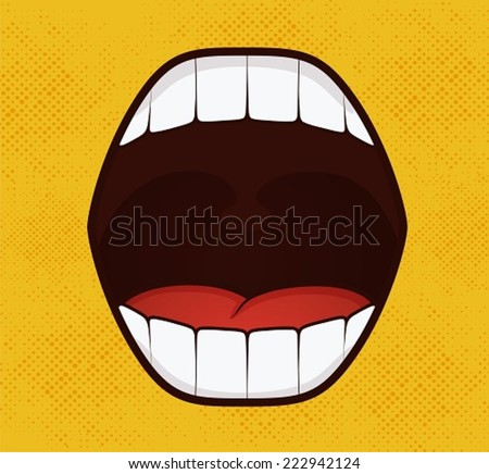 Smile pop art style on yellow background - stock vector