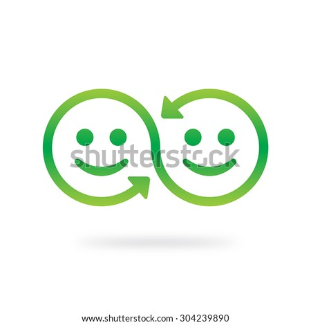 Smile sharing symbol. Emotional interaction concept. Swap vector icon. - stock vector