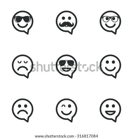 Smile speech bubbles icons. Happy, sad and wink faces signs. Sunglasses, mustache and laughing lol smiley symbols. Flat icons on white. Vector - stock vector