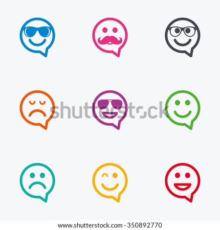 Smile speech bubbles icons. Happy, sad and wink faces signs. Sunglasses, mustache and laughing lol smiley symbols. Flat colored graphic icons. - stock vector