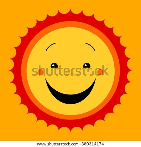 Smile sweat cute sun. Vector cute kids sun symbol. Kiddish sun sign. Joyful sun with smiley face. Kids design. Cute childish sun icon. Emoticon icon. Feeling good image. Cute flat vector illustration. - stock vector