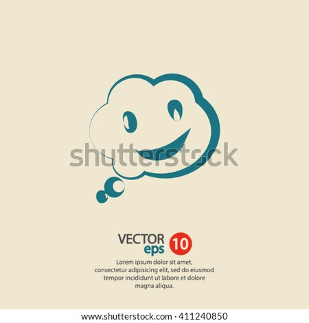 smile talking bubble  icon, vector illustration. Flat design style