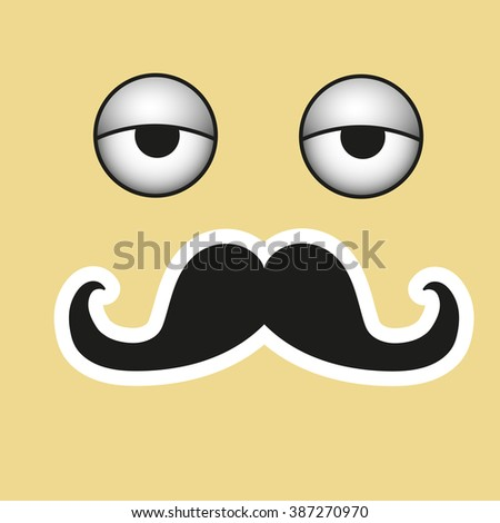 Smile with mustache in vector EPS - stock vector