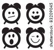 Smiles clock doodle cartoon set vector illustration - stock photo