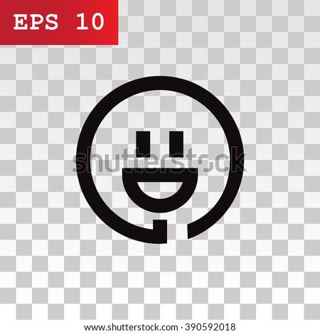 smiley and plug. vector icon - stock vector