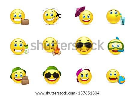 Smiley collection travelers - stock vector