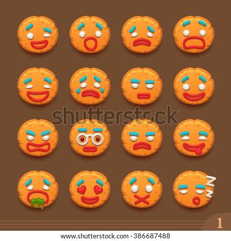 Smiley cookies - stock vector