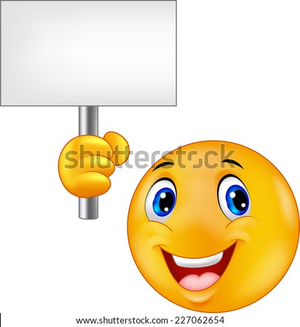 Smiley emoticon holding a blank sign - stock vector
