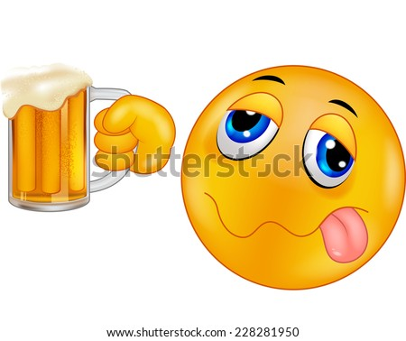 Smiley emoticon holding beer - stock vector