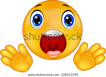 Smiley emoticon surprised - stock vector