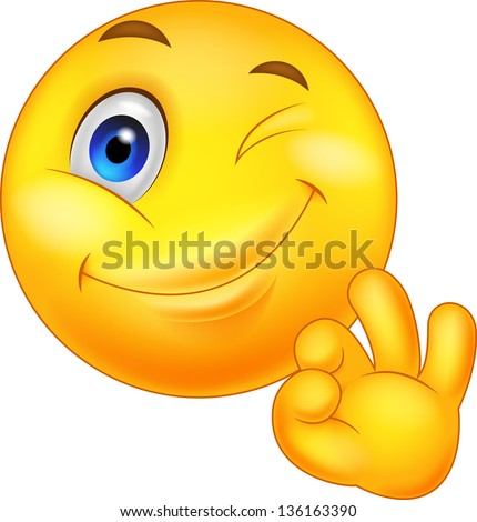 Smiley emoticon with ok sign - stock vector