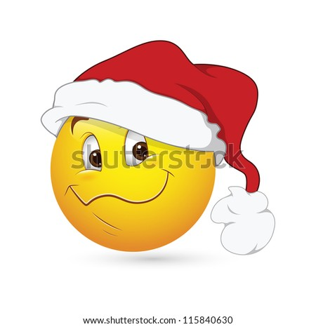 Smiley Emoticons Face Vector - Christmas Expression - stock vector