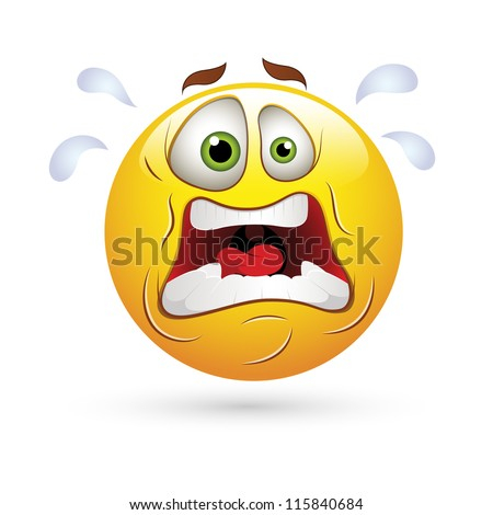 Smiley Emoticons Face Vector - Shocking Expression - stock vector