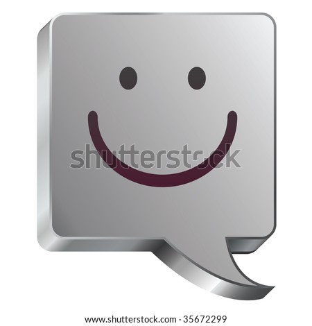 Smiley face emoticon icon on stainless steel modern industrial voice bubble icon suitable for use as a website accent, on promotional materials, or in advertisements. - stock vector